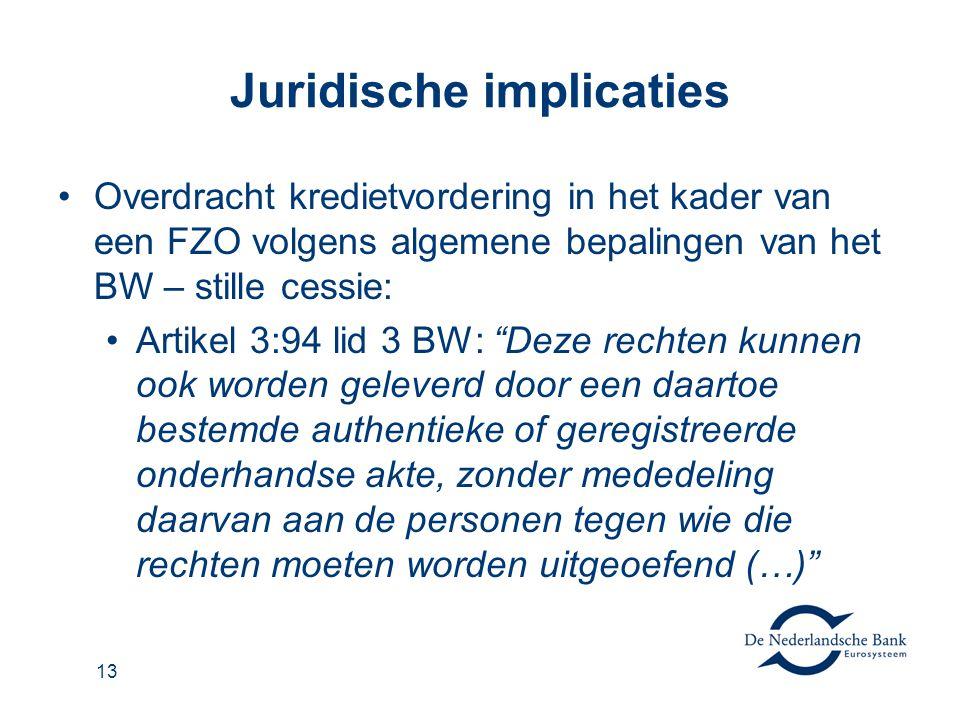 13 Juridische implicaties Overdracht kredietvordering in het kader van een FZO volgens algemene bepalingen van het BW – stille cessie: Artikel 3:94 li