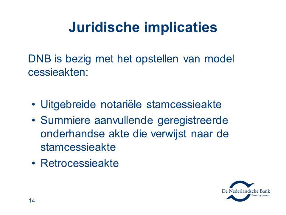 14 Juridische implicaties DNB is bezig met het opstellen van model cessieakten: Uitgebreide notariële stamcessieakte Summiere aanvullende geregistreer