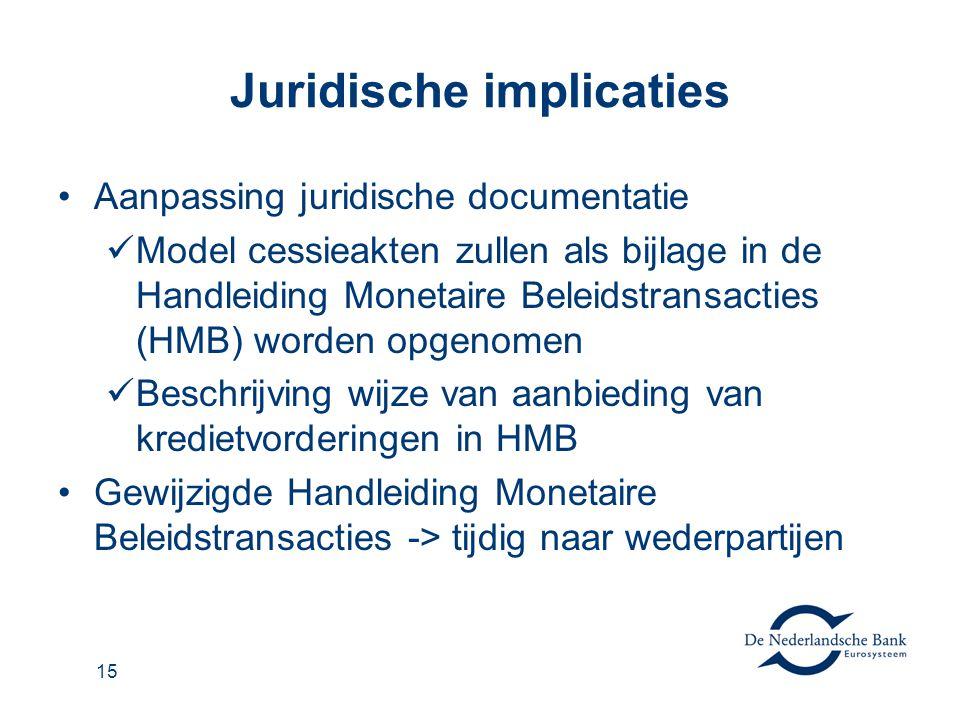 15 Juridische implicaties Aanpassing juridische documentatie Model cessieakten zullen als bijlage in de Handleiding Monetaire Beleidstransacties (HMB)