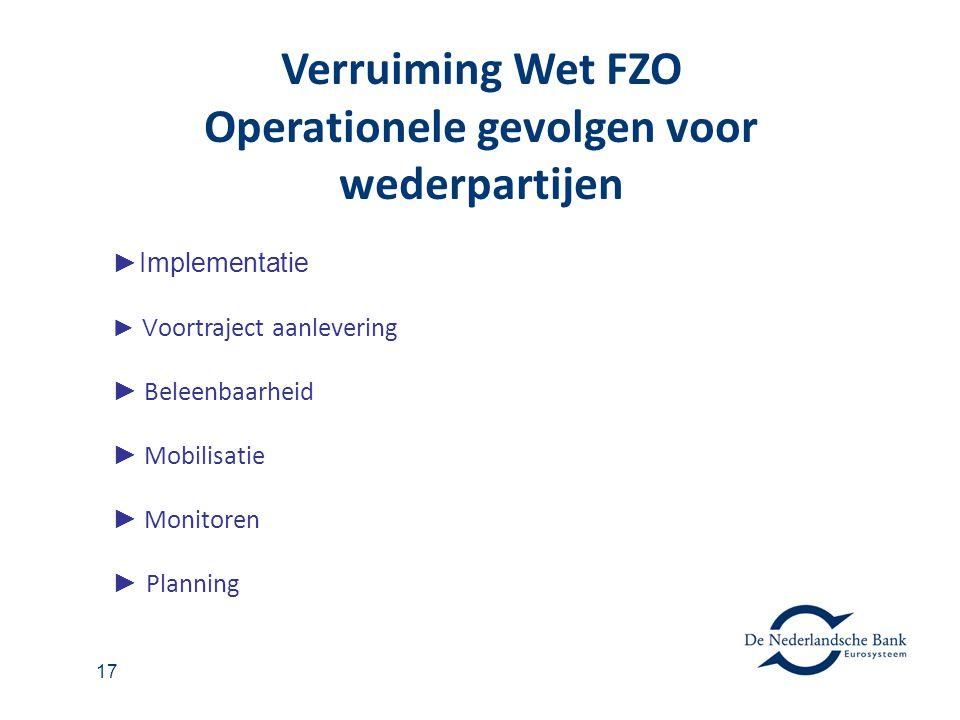 17 ►Implementatie ► V oortraject aanlevering ► Beleenbaarheid ► Mobilisatie ► Monitoren ► Planning Verruiming Wet FZO Operationele gevolgen voor weder