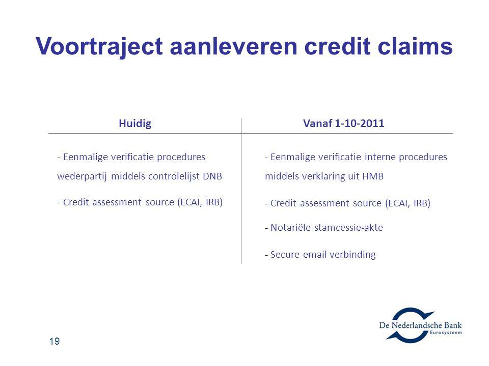 19 - Eenmalige verificatie procedures wederpartij middels controlelijst DNB - Credit assessment source (ECAI, IRB) HuidigVanaf 1-10-2011 - Eenmalige v