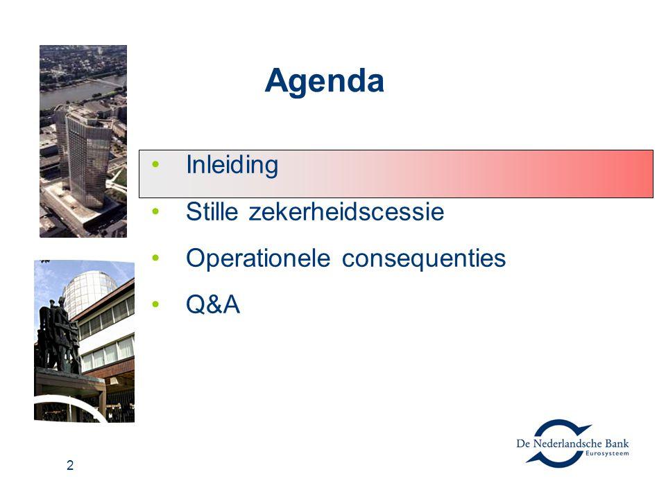 2 Agenda Inleiding Stille zekerheidscessie Operationele consequenties Q&A
