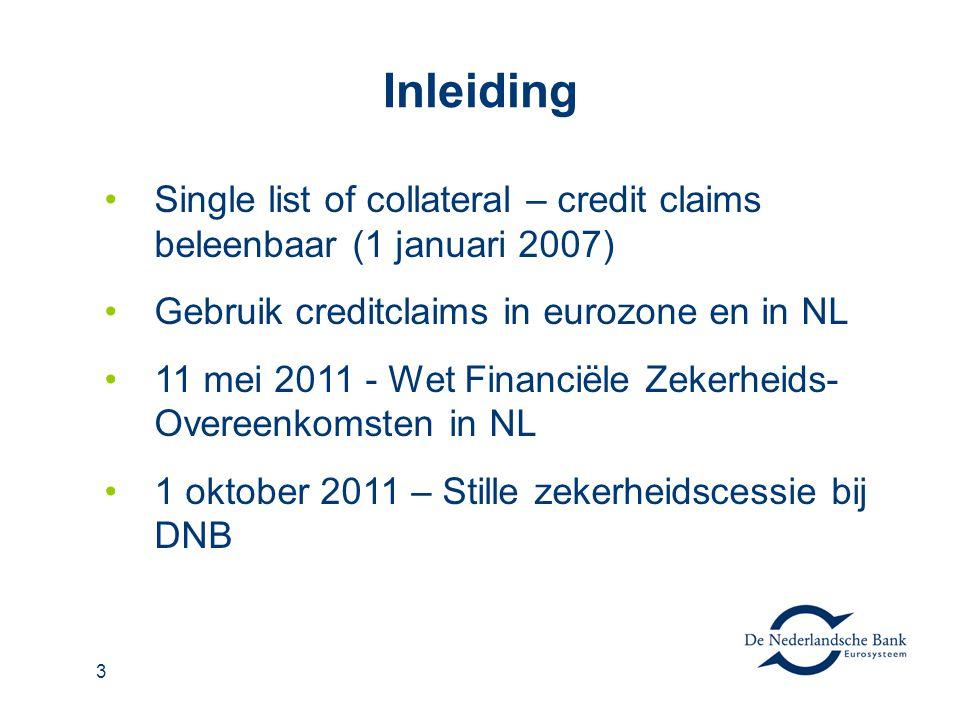 3 Inleiding Single list of collateral – credit claims beleenbaar (1 januari 2007) Gebruik creditclaims in eurozone en in NL 11 mei 2011 - Wet Financië
