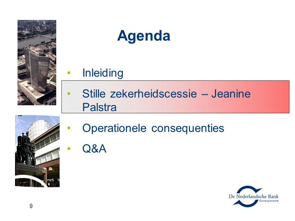 9 Agenda Inleiding Stille zekerheidscessie – Jeanine Palstra Operationele consequenties Q&A
