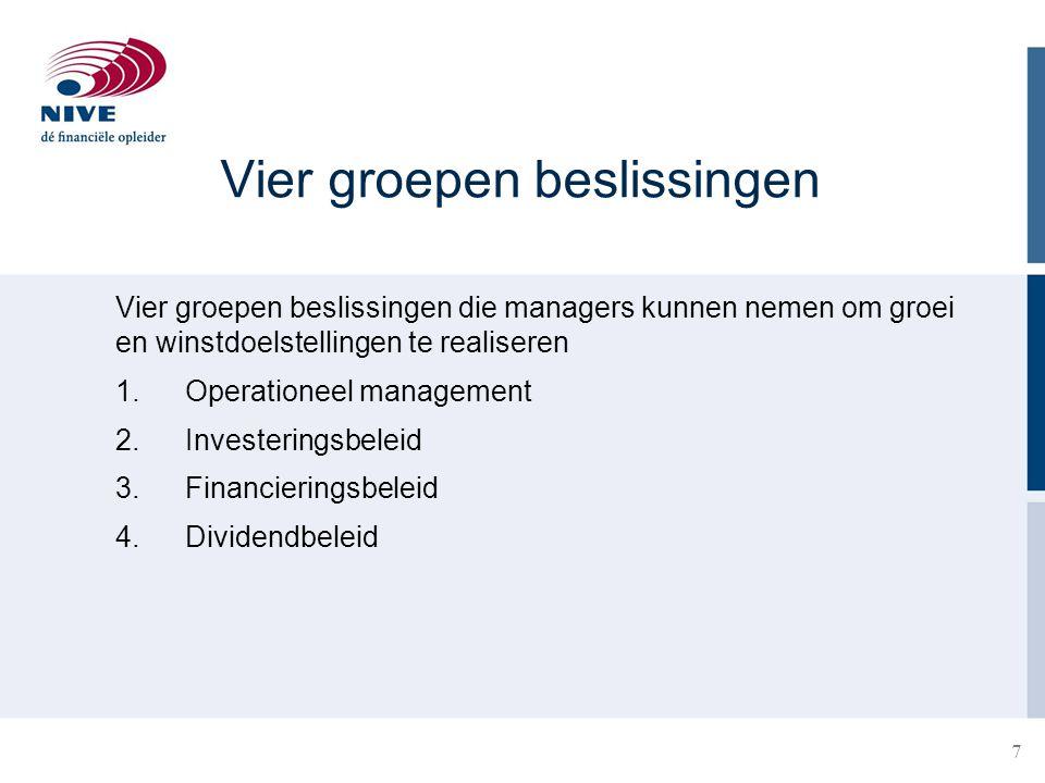 7 Vier groepen beslissingen Vier groepen beslissingen die managers kunnen nemen om groei en winstdoelstellingen te realiseren 1.Operationeel managemen