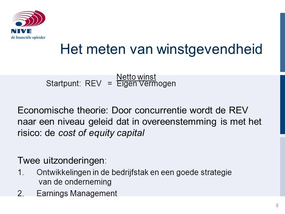 8 Het meten van winstgevendheid Netto winst Startpunt: REV = Eigen Vermogen Economische theorie: Door concurrentie wordt de REV naar een niveau geleid