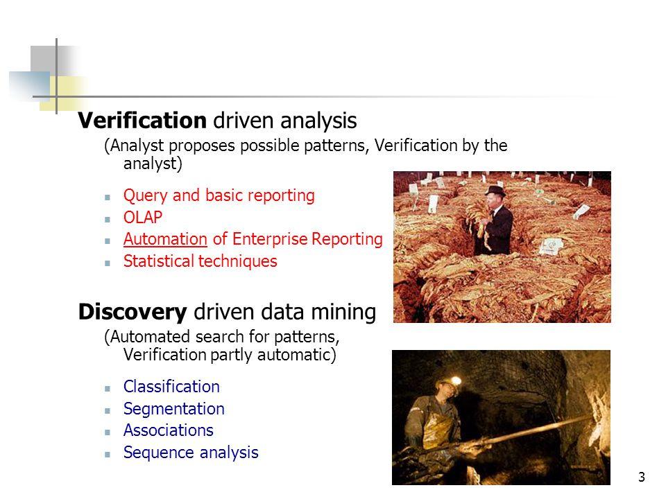 4 Data mining versus KDD Knowledge Discovery From Data (KDD) : ...the non-trivial process of identifying valid, novel, potentially useful, and ultimately understandable patterns in data. (Fayyad, 1996) Data Mining : stap van het KDD proces waarbij patronen uit data geëxtraheerd worden door het uitvoeren van computationele algoritmes Computer gestuurde ontdekking van (onverwachte) patronen in plaats van gestuurd door de eindgebruiker (cf.