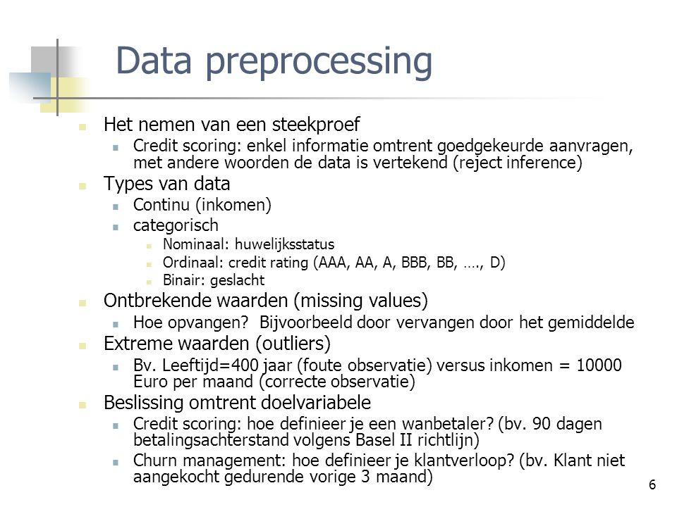 6 Data preprocessing Het nemen van een steekproef Credit scoring: enkel informatie omtrent goedgekeurde aanvragen, met andere woorden de data is verte
