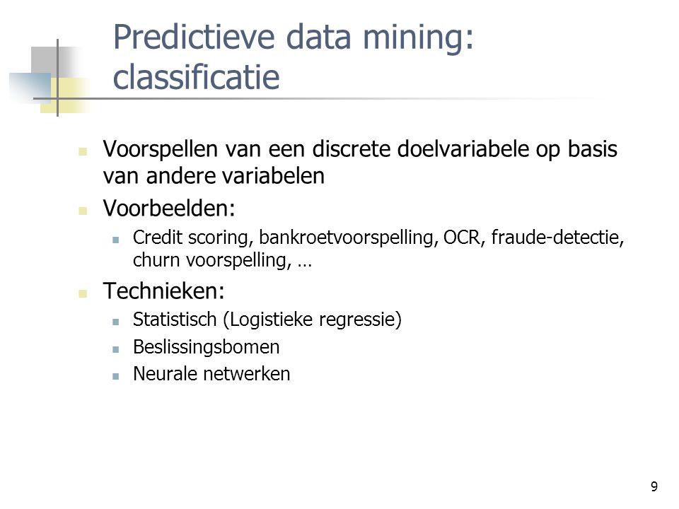 9 Predictieve data mining: classificatie Voorspellen van een discrete doelvariabele op basis van andere variabelen Voorbeelden: Credit scoring, bankro