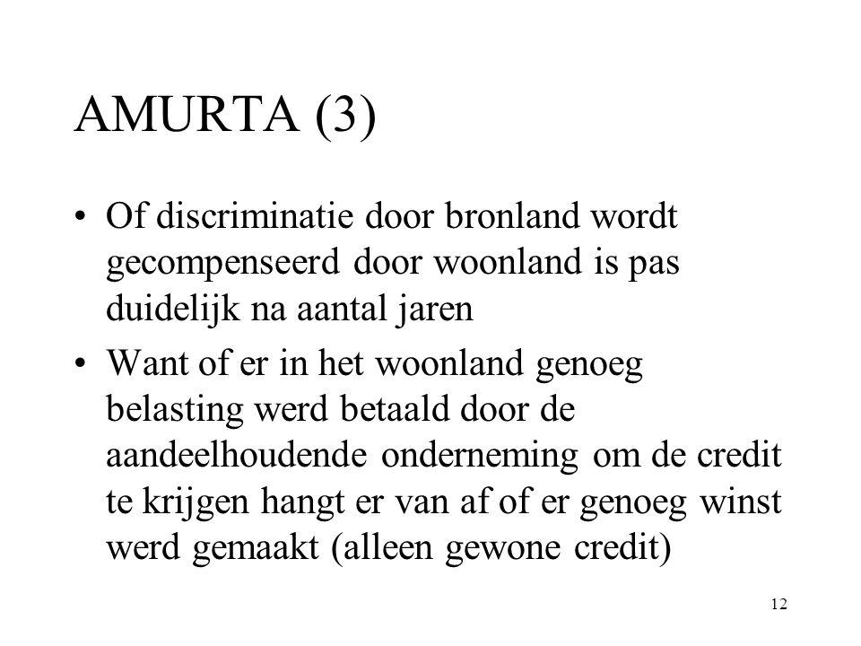 12 AMURTA (3) Of discriminatie door bronland wordt gecompenseerd door woonland is pas duidelijk na aantal jaren Want of er in het woonland genoeg bela
