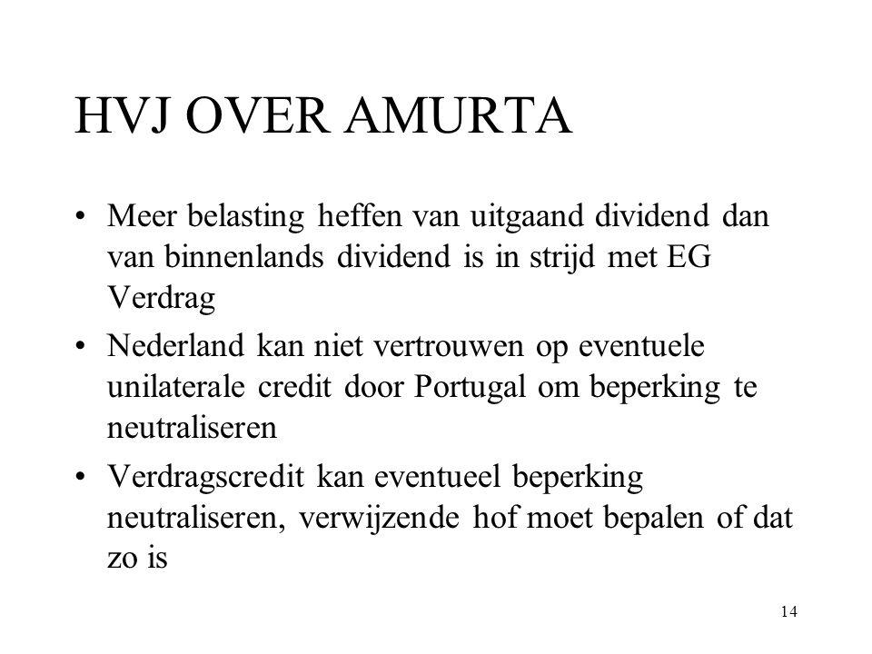 14 HVJ OVER AMURTA Meer belasting heffen van uitgaand dividend dan van binnenlands dividend is in strijd met EG Verdrag Nederland kan niet vertrouwen