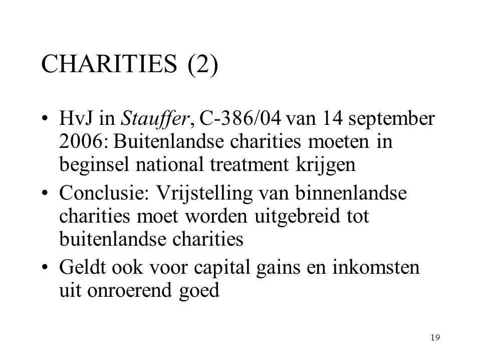 19 CHARITIES (2) HvJ in Stauffer, C-386/04 van 14 september 2006: Buitenlandse charities moeten in beginsel national treatment krijgen Conclusie: Vrij