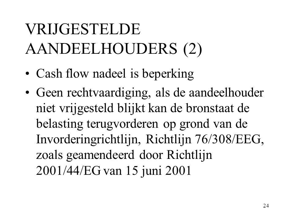 24 VRIJGESTELDE AANDEELHOUDERS (2) Cash flow nadeel is beperking Geen rechtvaardiging, als de aandeelhouder niet vrijgesteld blijkt kan de bronstaat d