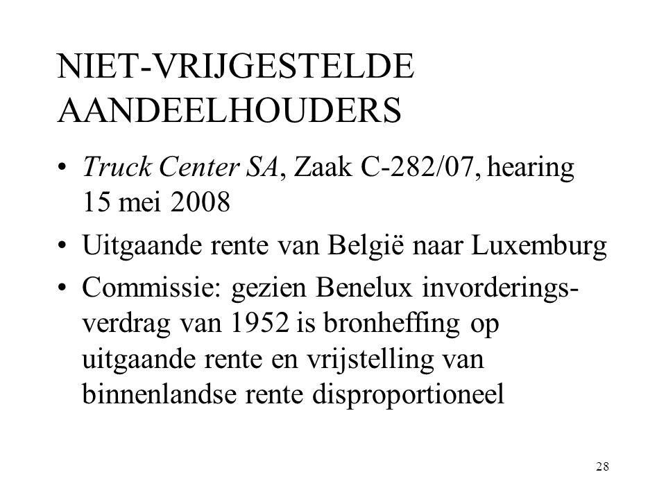 28 NIET-VRIJGESTELDE AANDEELHOUDERS Truck Center SA, Zaak C-282/07, hearing 15 mei 2008 Uitgaande rente van België naar Luxemburg Commissie: gezien Be