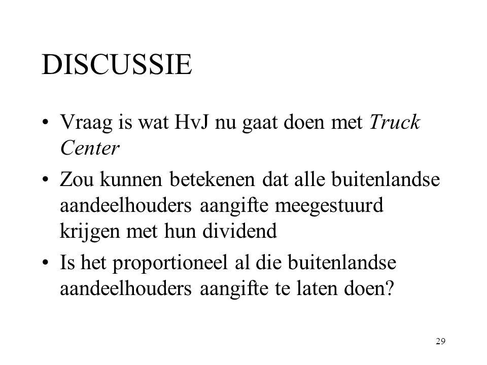 29 DISCUSSIE Vraag is wat HvJ nu gaat doen met Truck Center Zou kunnen betekenen dat alle buitenlandse aandeelhouders aangifte meegestuurd krijgen met
