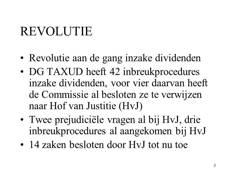 3 REVOLUTIE Revolutie aan de gang inzake dividenden DG TAXUD heeft 42 inbreukprocedures inzake dividenden, voor vier daarvan heeft de Commissie al bes