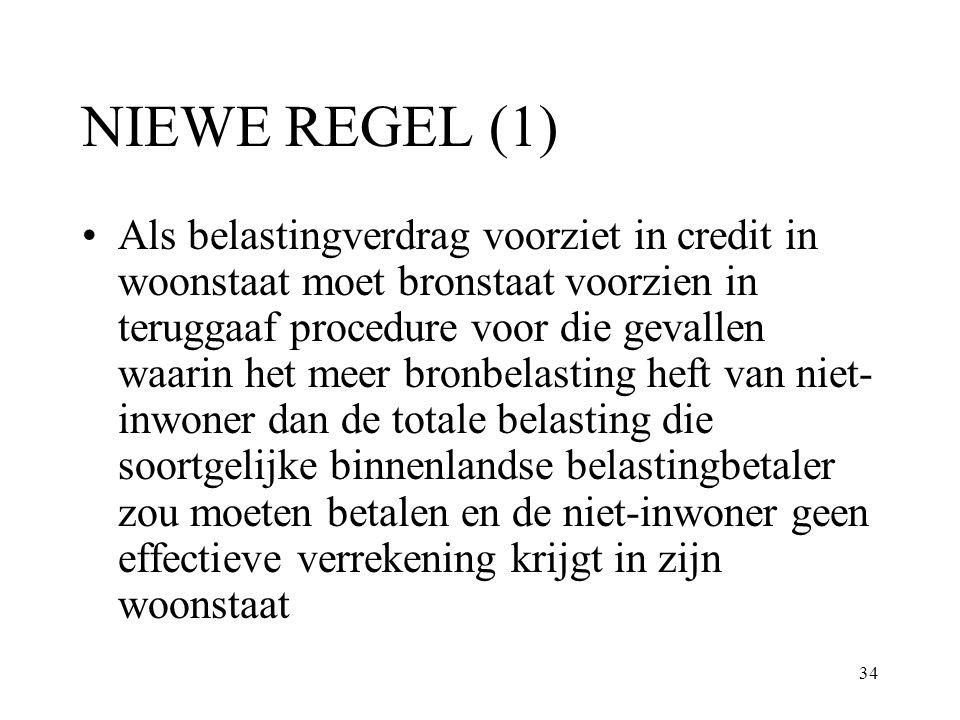 34 NIEWE REGEL (1) Als belastingverdrag voorziet in credit in woonstaat moet bronstaat voorzien in teruggaaf procedure voor die gevallen waarin het me