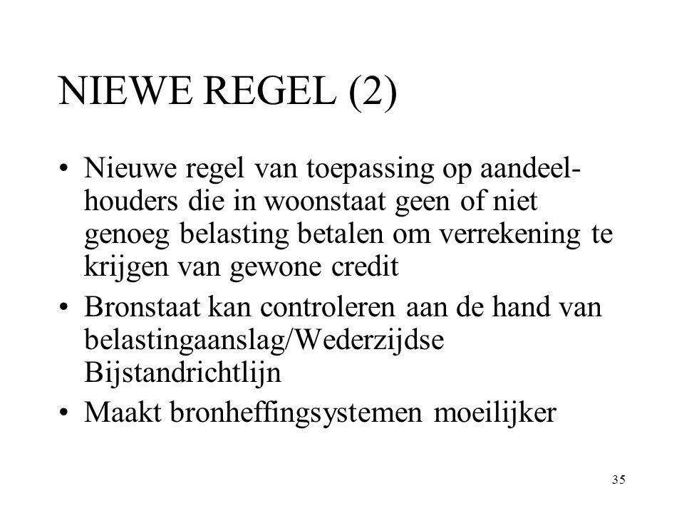 35 NIEWE REGEL (2) Nieuwe regel van toepassing op aandeel- houders die in woonstaat geen of niet genoeg belasting betalen om verrekening te krijgen va
