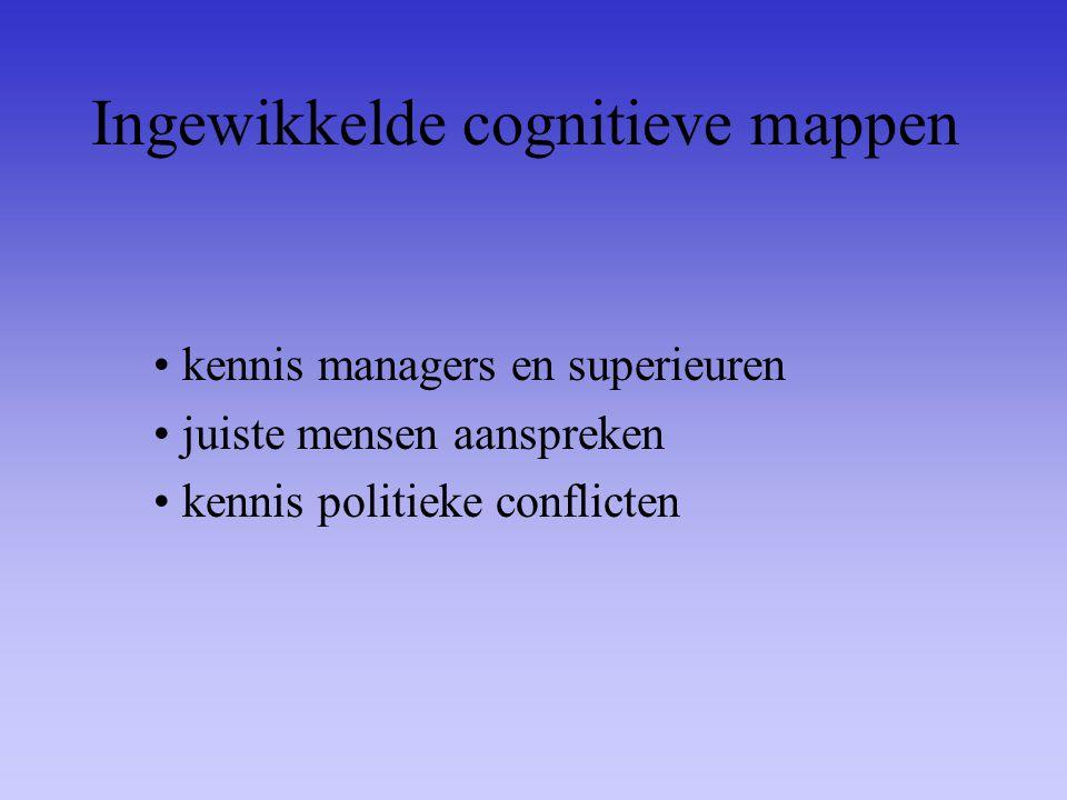 Ingewikkelde cognitieve mappen kennis managers en superieuren juiste mensen aanspreken kennis politieke conflicten