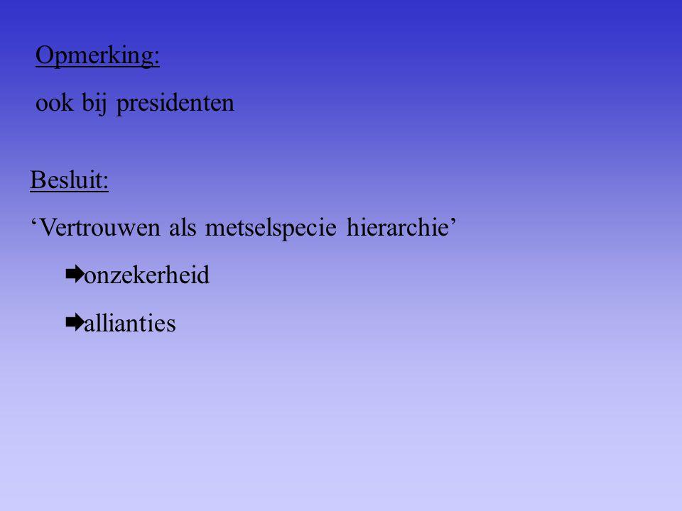 Opmerking: ook bij presidenten Besluit: 'Vertrouwen als metselspecie hierarchie'  onzekerheid  allianties