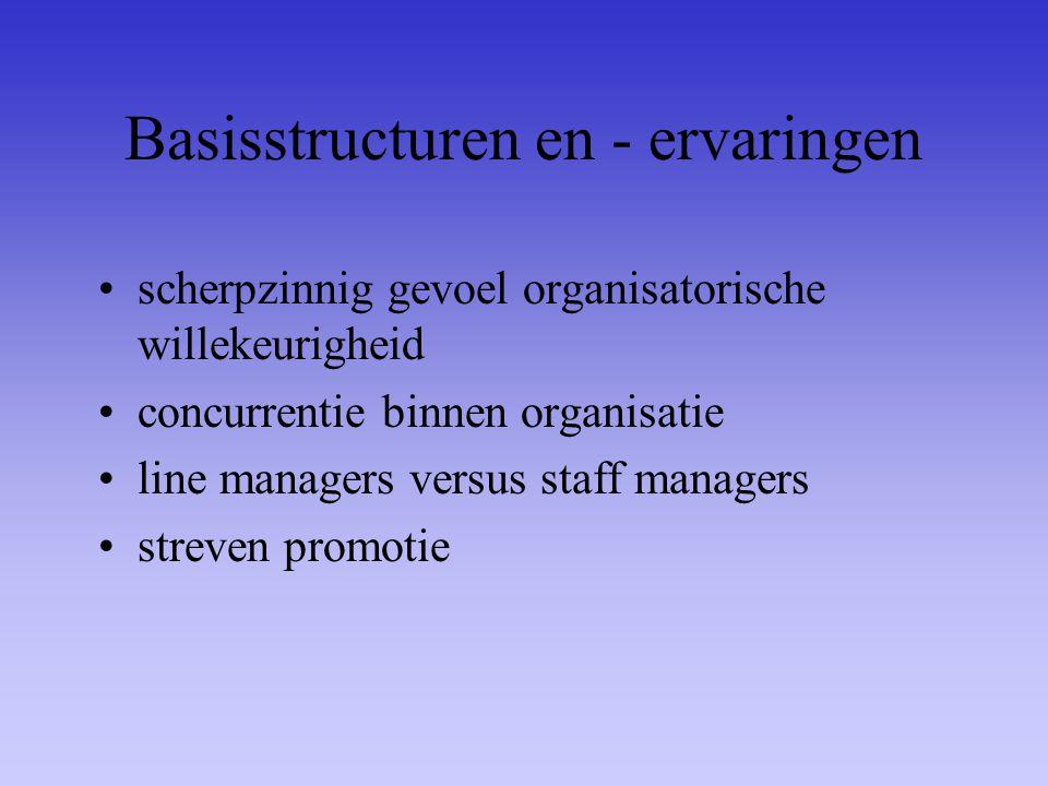 Basisstructuren en - ervaringen scherpzinnig gevoel organisatorische willekeurigheid concurrentie binnen organisatie line managers versus staff manage