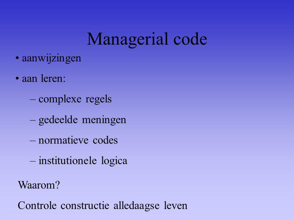 Managerial code aanwijzingen aan leren: – complexe regels – gedeelde meningen – normatieve codes – institutionele logica Waarom? Controle constructie