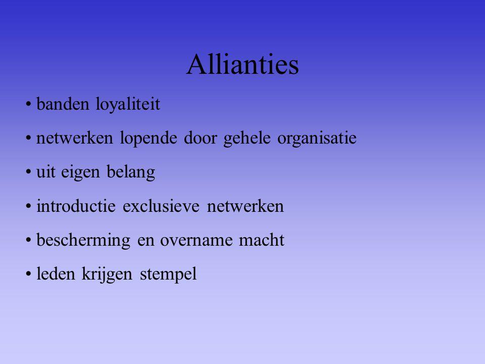 Allianties banden loyaliteit netwerken lopende door gehele organisatie uit eigen belang introductie exclusieve netwerken bescherming en overname macht
