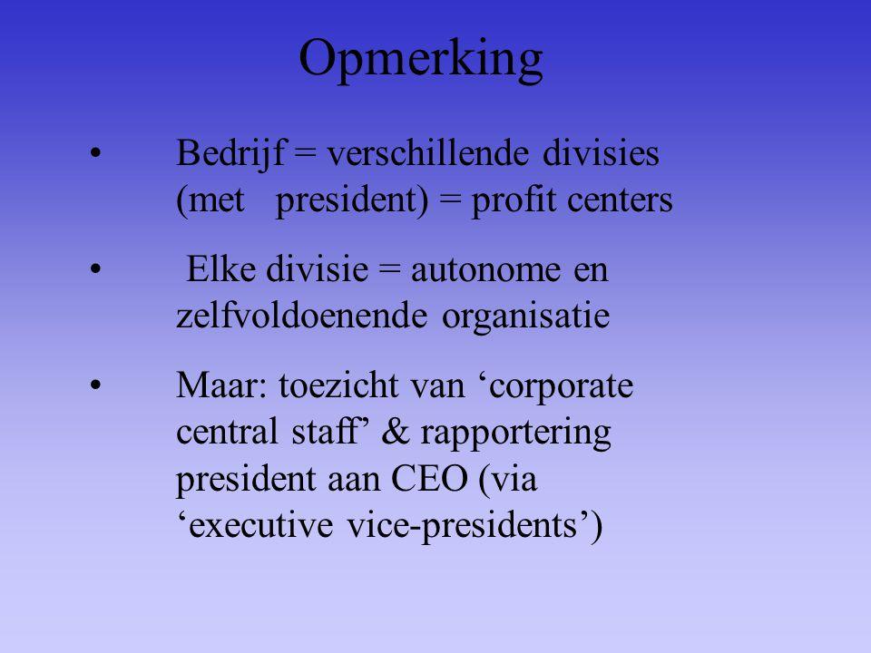 Opmerking Bedrijf = verschillende divisies (met president) = profit centers Elke divisie = autonome en zelfvoldoenende organisatie Maar: toezicht van