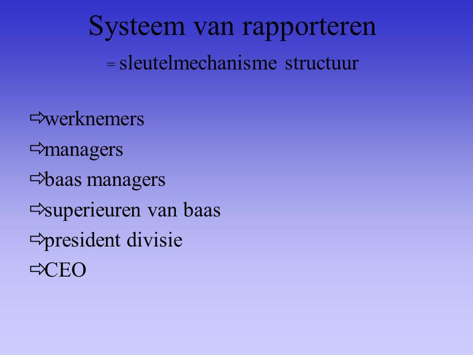 Systeem van rapporteren = sleutelmechanisme structuur  werknemers  managers  baas managers  superieuren van baas  president divisie  CEO
