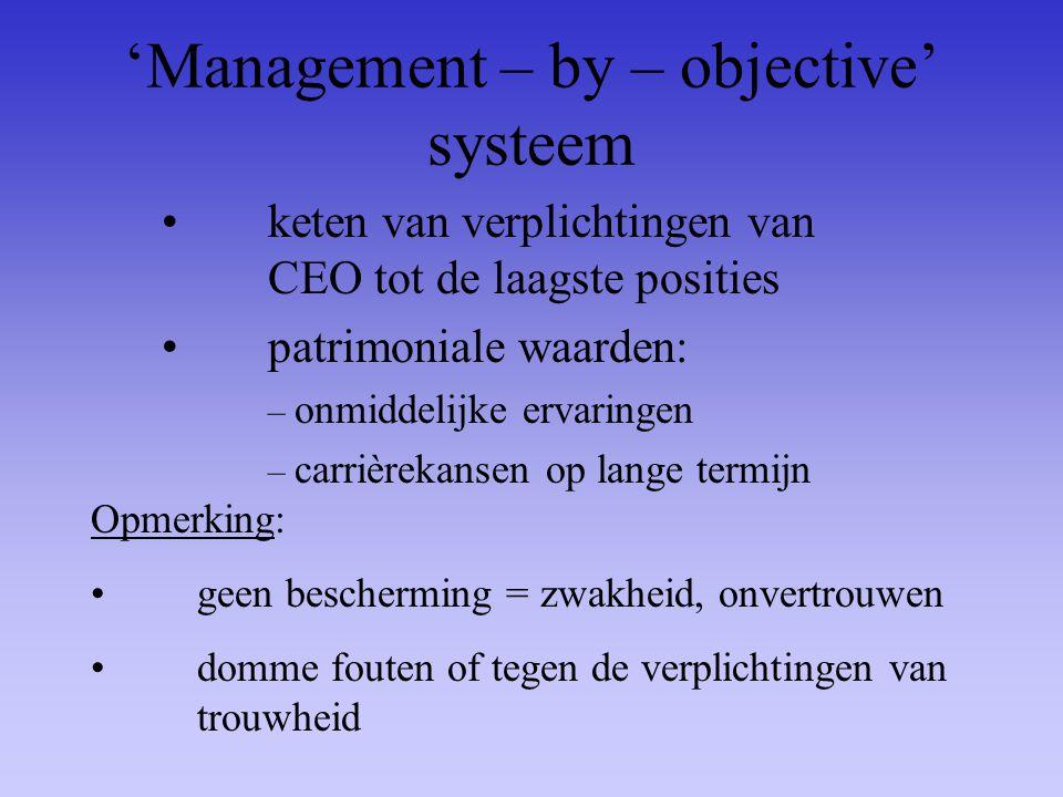 'Management – by – objective' systeem keten van verplichtingen van CEO tot de laagste posities patrimoniale waarden: – onmiddelijke ervaringen – carri