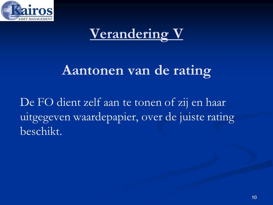 Verandering V Aantonen van de rating De FO dient zelf aan te tonen of zij en haar uitgegeven waardepapier, over de juiste rating beschikt. 10