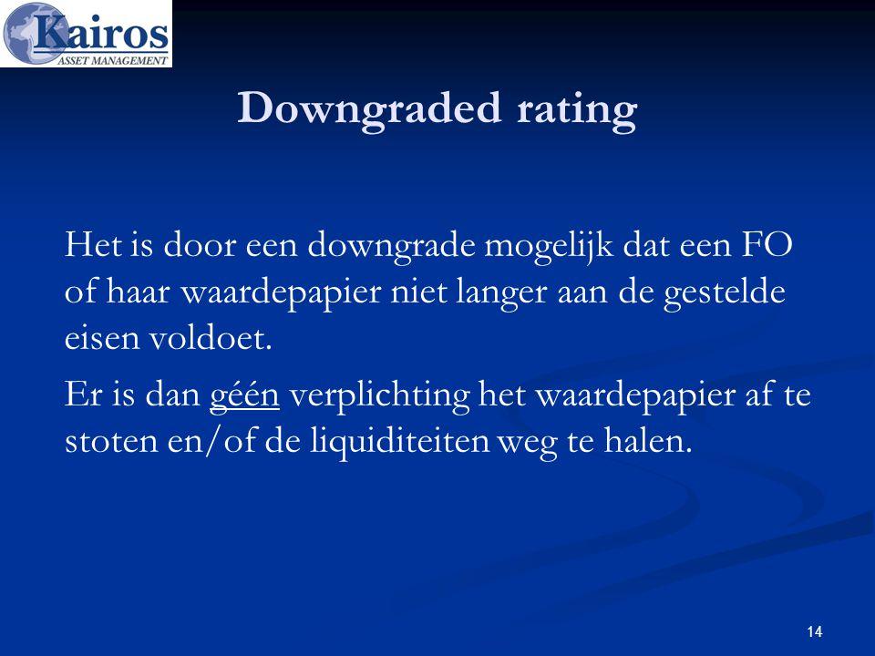 Downgraded rating Het is door een downgrade mogelijk dat een FO of haar waardepapier niet langer aan de gestelde eisen voldoet. Er is dan géén verplic