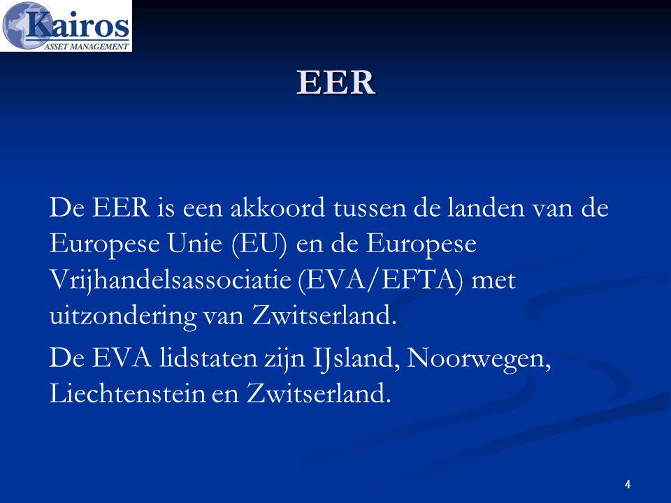EER De EER is een akkoord tussen de landen van de Europese Unie (EU) en de Europese Vrijhandelsassociatie (EVA/EFTA) met uitzondering van Zwitserland.