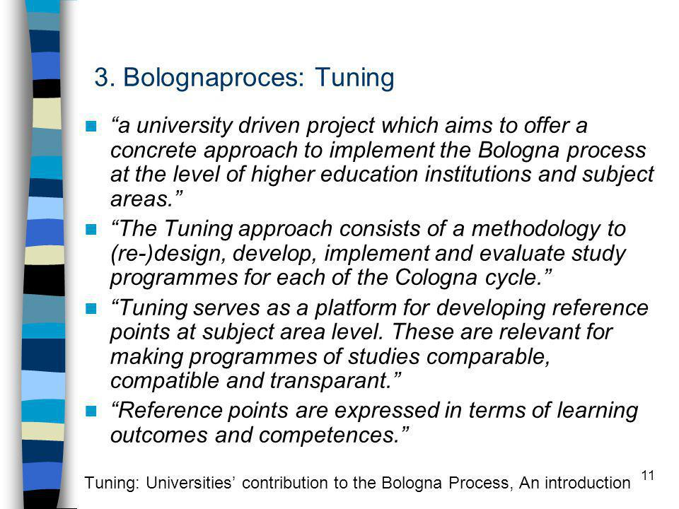 "11 3. Bolognaproces: Tuning ""a university driven project which aims to offer a concrete approach to implement the Bologna process at the level of high"