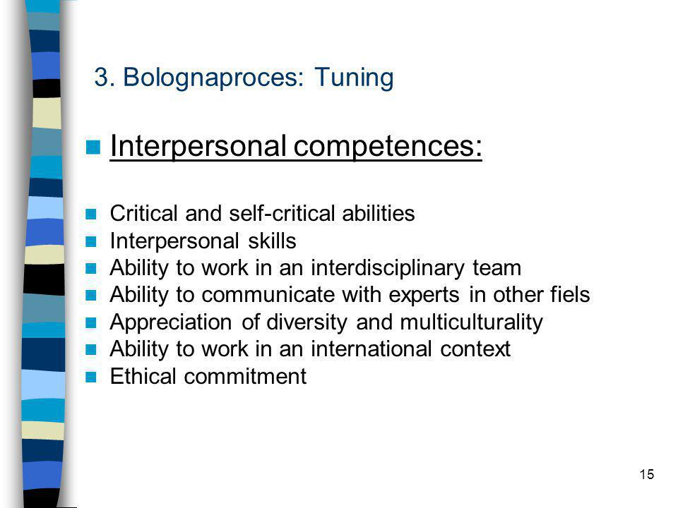 15 3. Bolognaproces: Tuning Interpersonal competences: Critical and self-critical abilities Interpersonal skills Ability to work in an interdisciplina