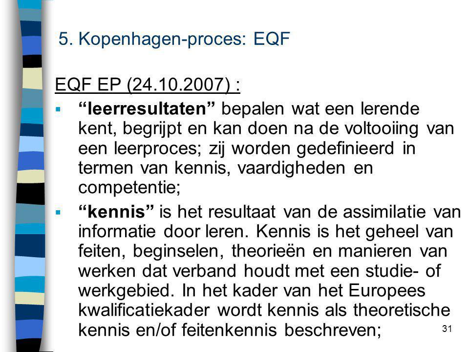 31 EQF EP (24.10.2007) :  leerresultaten bepalen wat een lerende kent, begrijpt en kan doen na de voltooiing van een leerproces; zij worden gedefinieerd in termen van kennis, vaardigheden en competentie;  kennis is het resultaat van de assimilatie van informatie door leren.