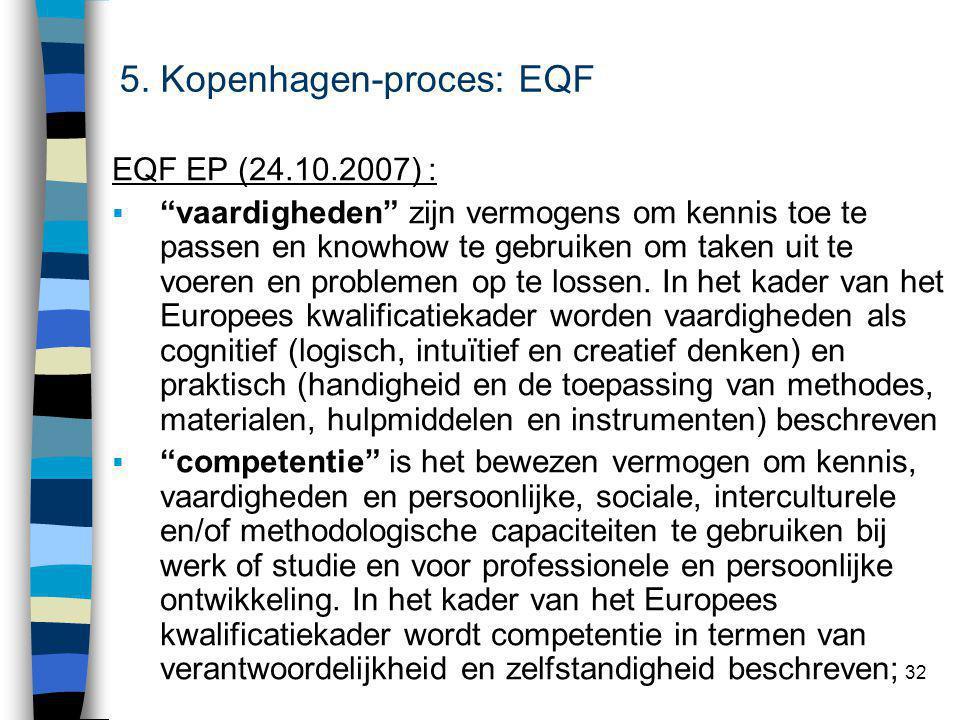 32 EQF EP (24.10.2007) :  vaardigheden zijn vermogens om kennis toe te passen en knowhow te gebruiken om taken uit te voeren en problemen op te lossen.