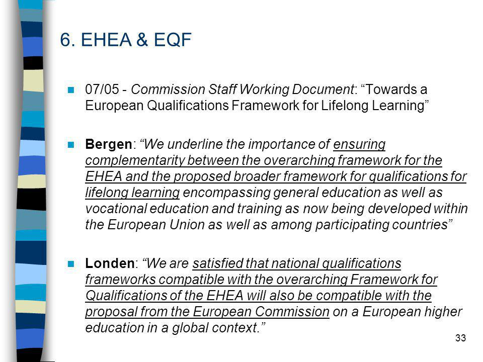 33 07/05 - Commission Staff Working Document: Towards a European Qualifications Framework for Lifelong Learning Bergen: We underline the importance of ensuring complementarity between the overarching framework for the EHEA and the proposed broader framework for qualifications for lifelong learning encompassing general education as well as vocational education and training as now being developed within the European Union as well as among participating countries Londen: We are satisfied that national qualifications frameworks compatible with the overarching Framework for Qualifications of the EHEA will also be compatible with the proposal from the European Commission on a European higher education in a global context. 6.