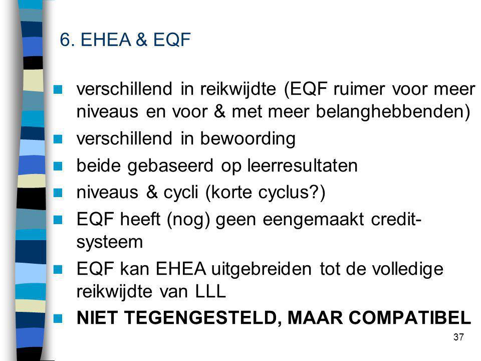 37 verschillend in reikwijdte (EQF ruimer voor meer niveaus en voor & met meer belanghebbenden) verschillend in bewoording beide gebaseerd op leerresultaten niveaus & cycli (korte cyclus ) EQF heeft (nog) geen eengemaakt credit- systeem EQF kan EHEA uitgebreiden tot de volledige reikwijdte van LLL NIET TEGENGESTELD, MAAR COMPATIBEL 6.
