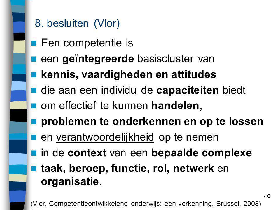 40 competentie Een competentie is een geïntegreerde basiscluster van kennis, vaardigheden en attitudes die aan een individu de capaciteiten biedt om e