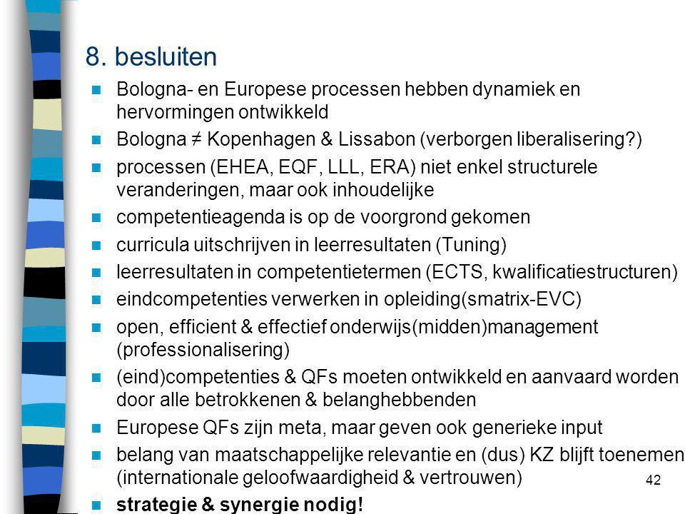 42 Bologna- en Europese processen hebben dynamiek en hervormingen ontwikkeld Bologna ≠ Kopenhagen & Lissabon (verborgen liberalisering ) processen (EHEA, EQF, LLL, ERA) niet enkel structurele veranderingen, maar ook inhoudelijke competentieagenda is op de voorgrond gekomen curricula uitschrijven in leerresultaten (Tuning) leerresultaten in competentietermen (ECTS, kwalificatiestructuren) eindcompetenties verwerken in opleiding(smatrix-EVC) open, efficient & effectief onderwijs(midden)management (professionalisering) (eind)competenties & QFs moeten ontwikkeld en aanvaard worden door alle betrokkenen & belanghebbenden Europese QFs zijn meta, maar geven ook generieke input belang van maatschappelijke relevantie en (dus) KZ blijft toenemen (internationale geloofwaardigheid & vertrouwen) strategie & synergie nodig.