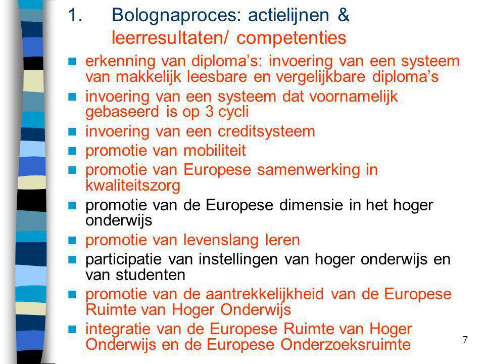7 1.Bolognaproces: actielijnen & leerresultaten/ competenties erkenning van diploma's: invoering van een systeem van makkelijk leesbare en vergelijkba