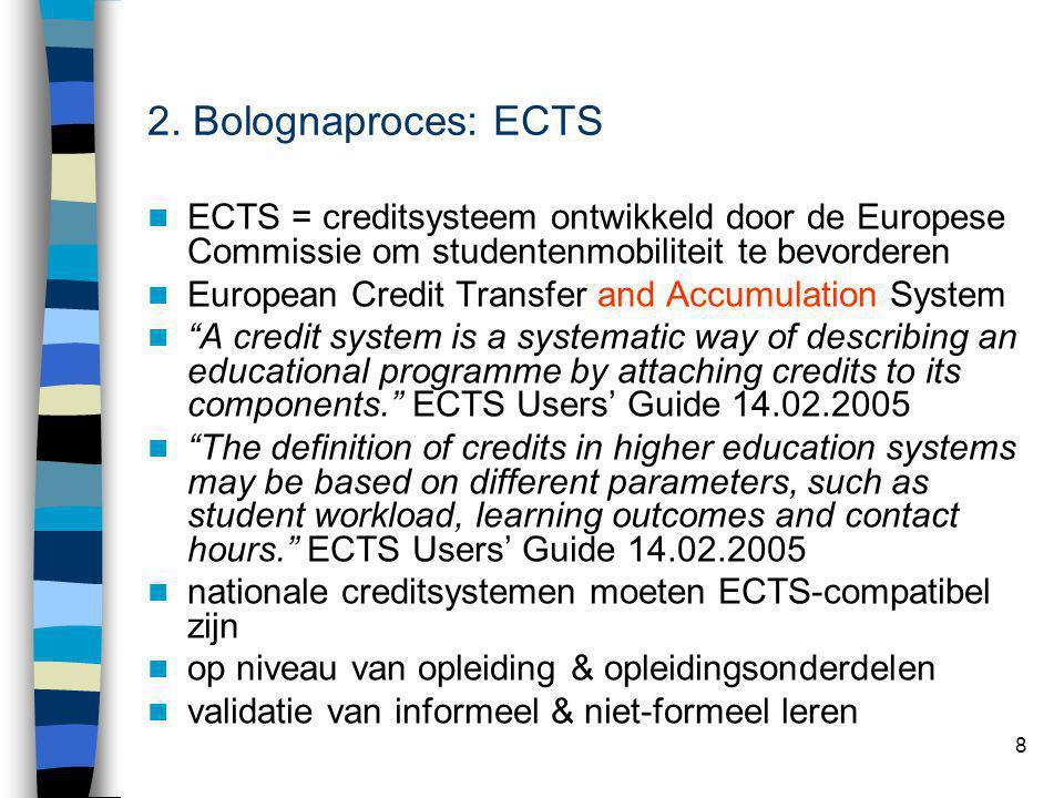 8 2. Bolognaproces: ECTS ECTS = creditsysteem ontwikkeld door de Europese Commissie om studentenmobiliteit te bevorderen European Credit Transfer and