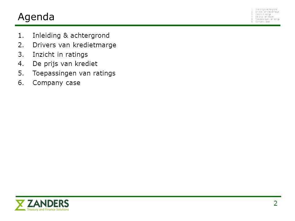 2 1.Inleiding & achtergrond 2.Drivers van kredietmarge 3.Inzicht in ratings 4.De prijs van krediet 5.Toepassingen van ratings 6.Company case Agenda 1.