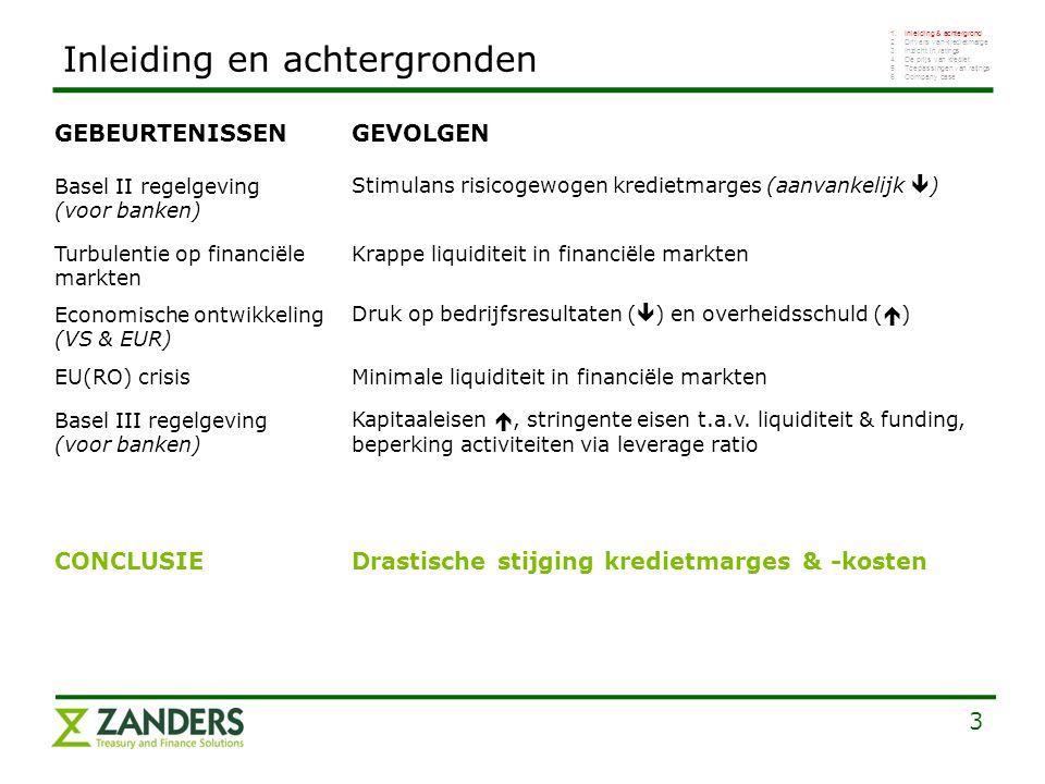 3 Inleiding en achtergronden 1.Inleiding & achtergrond 2.Drivers van kredietmarge 3.Inzicht in ratings 4.De prijs van krediet: 5.Toepassingen van ratings 6.Company case Basel II regelgeving (voor banken) Stimulans risicogewogen kredietmarges (aanvankelijk  ) GEBEURTENISSENGEVOLGEN Turbulentie op financiële markten Krappe liquiditeit in financiële markten Economische ontwikkeling (VS & EUR) Druk op bedrijfsresultaten (  ) en overheidsschuld (  ) Basel III regelgeving (voor banken) Kapitaaleisen , stringente eisen t.a.v.