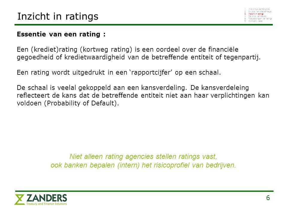 6 Inzicht in ratings Essentie van een rating : Een (krediet)rating (kortweg rating) is een oordeel over de financiële gegoedheid of kredietwaardigheid van de betreffende entiteit of tegenpartij.