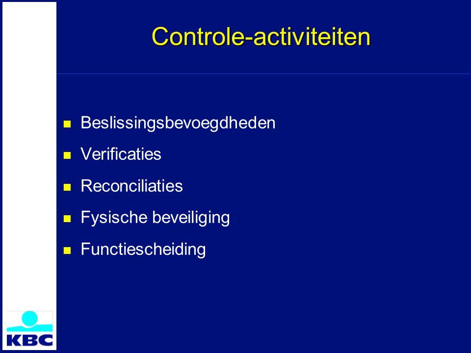 Controle-activiteiten Beslissingsbevoegdheden Verificaties Reconciliaties Fysische beveiliging Functiescheiding