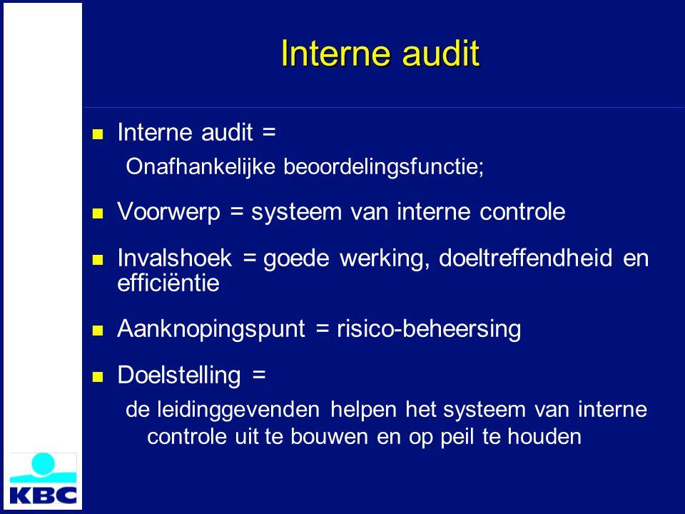 Interne audit Interne audit = Onafhankelijke beoordelingsfunctie; Voorwerp = systeem van interne controle Invalshoek = goede werking, doeltreffendheid en efficiëntie Aanknopingspunt = risico-beheersing Doelstelling = de leidinggevenden helpen het systeem van interne controle uit te bouwen en op peil te houden