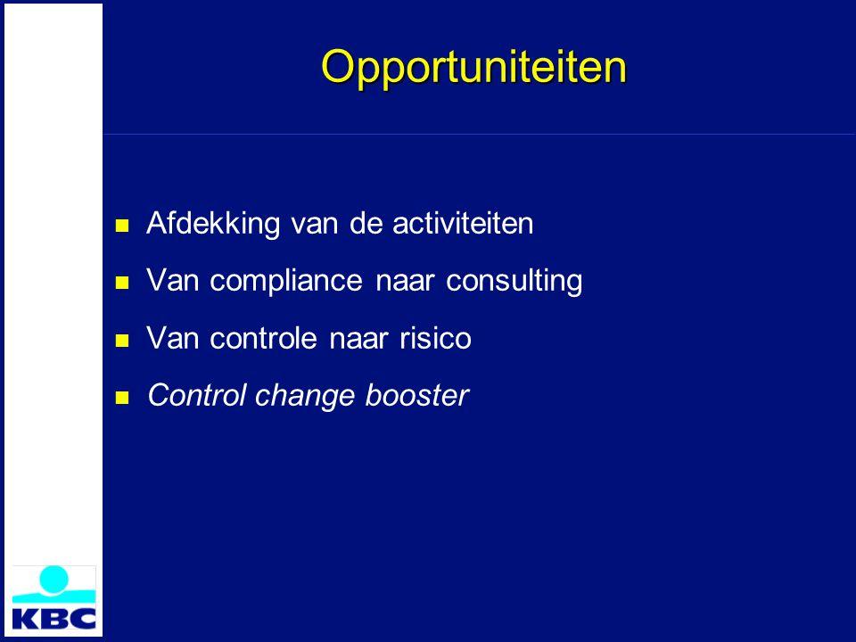 Opportuniteiten Afdekking van de activiteiten Van compliance naar consulting Van controle naar risico Control change booster