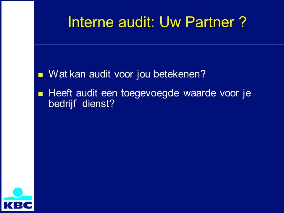 Interne audit: Uw Partner . Wat kan audit voor jou betekenen.